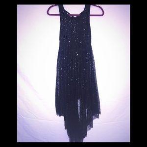 Black hi-low Junior's Sequin Dress